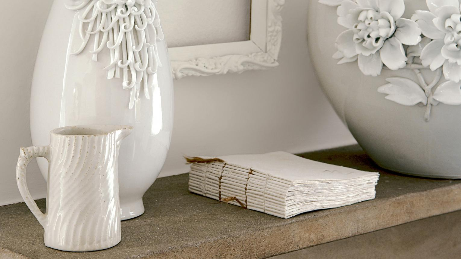 Highlight textures with a pared-back palette of off-whites.