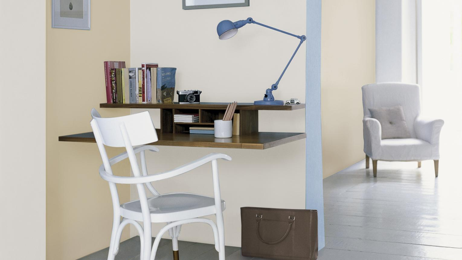 Delicate seaside shades create a light-filled office space.