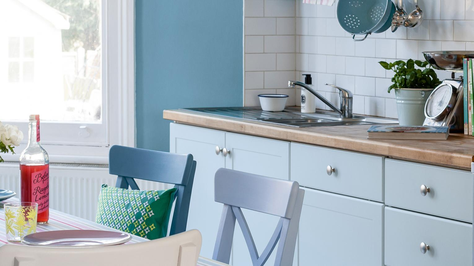Give your kitchen a subtle wash of colour with pops of pretty pastel shades like powder blue, rose and sage.