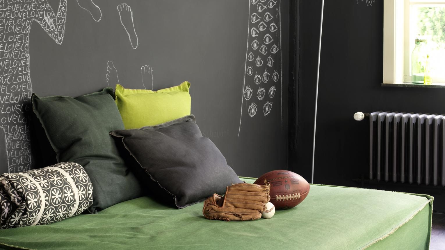 Rich greens get a modern look when paired with dark grey.