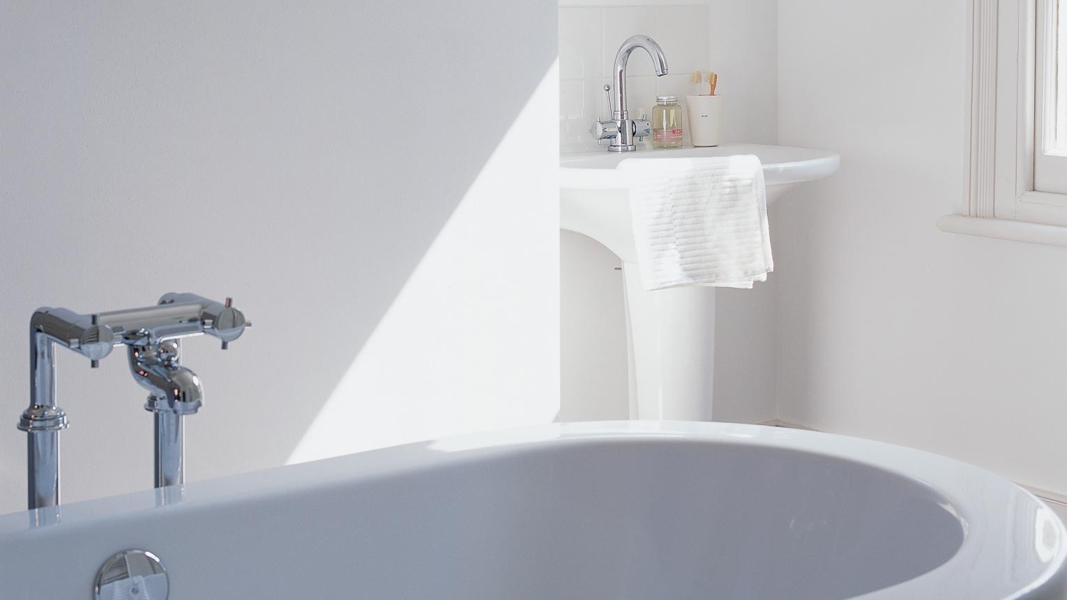 For a bright, sparkling bathroom opt for an all-white scheme.