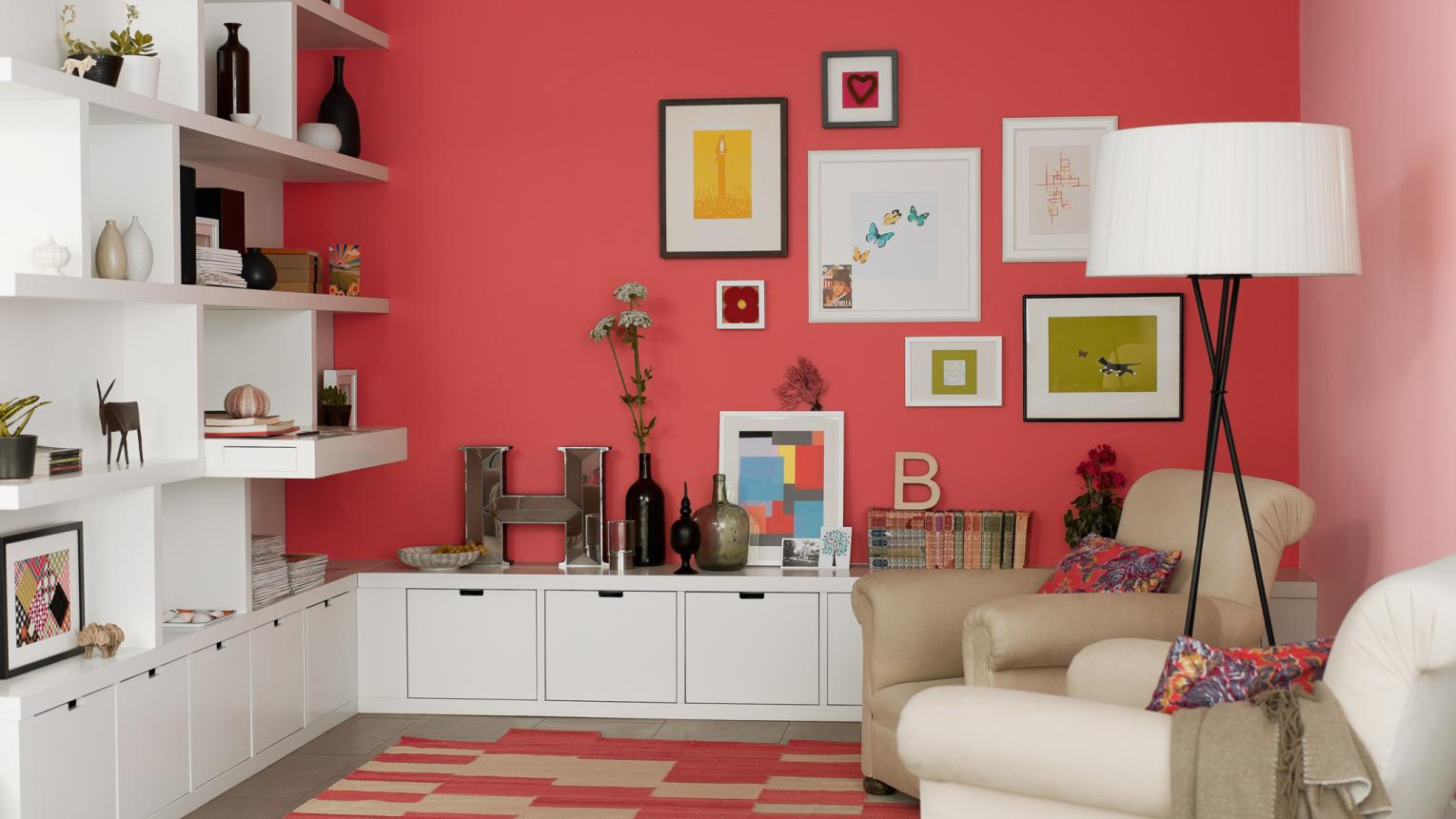 Create a bold feature wall to add interest to your living room.