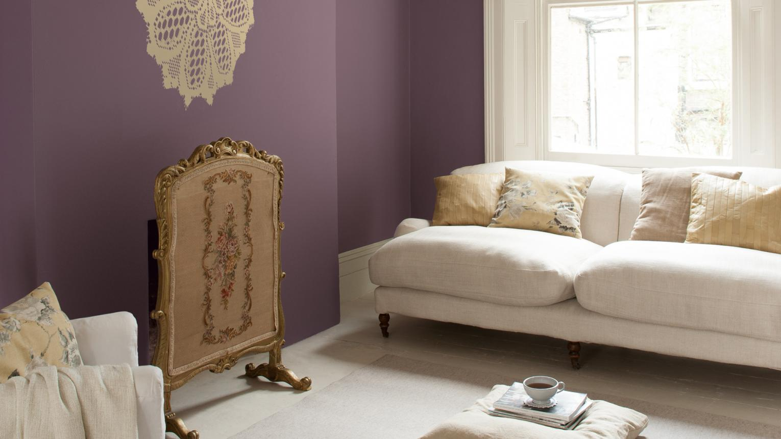 Violet and creamy whites create a dreamy, feminine mood.