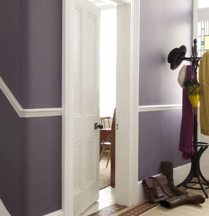 Transform your hallway into the main attraction with striking purple.