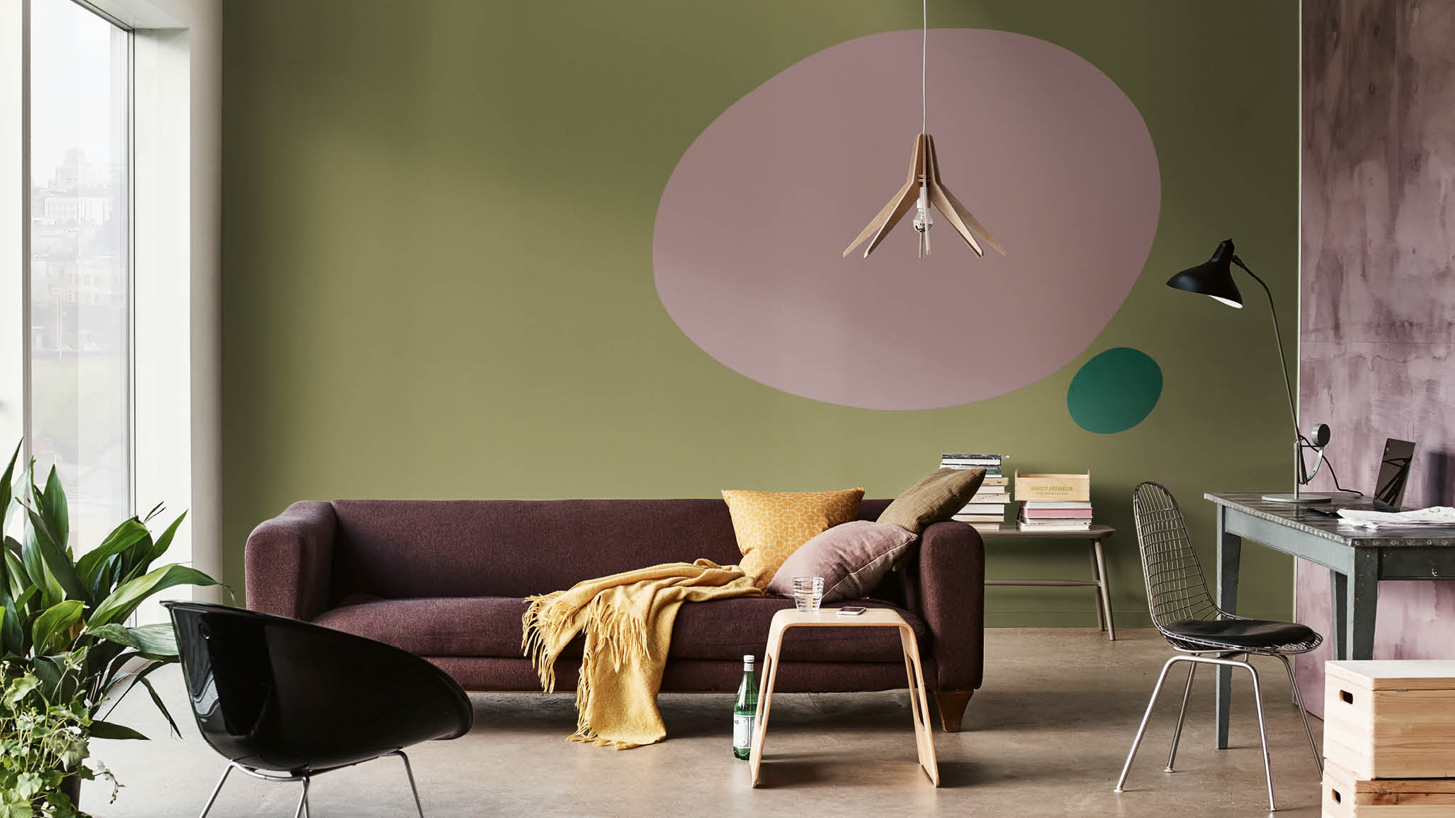 Green living room with oval